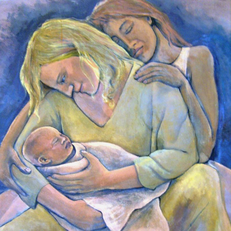 Woman nurturing child